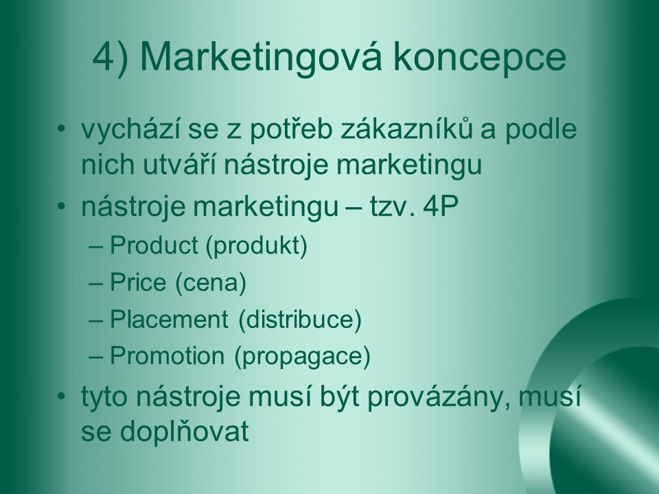 4) Marketingová koncepce