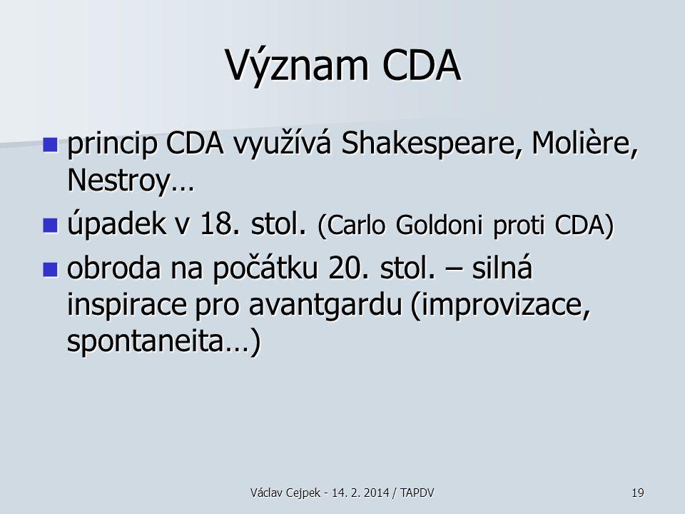 Význam CDA princip CDA využívá Shakespeare, Molière, Nestroy…