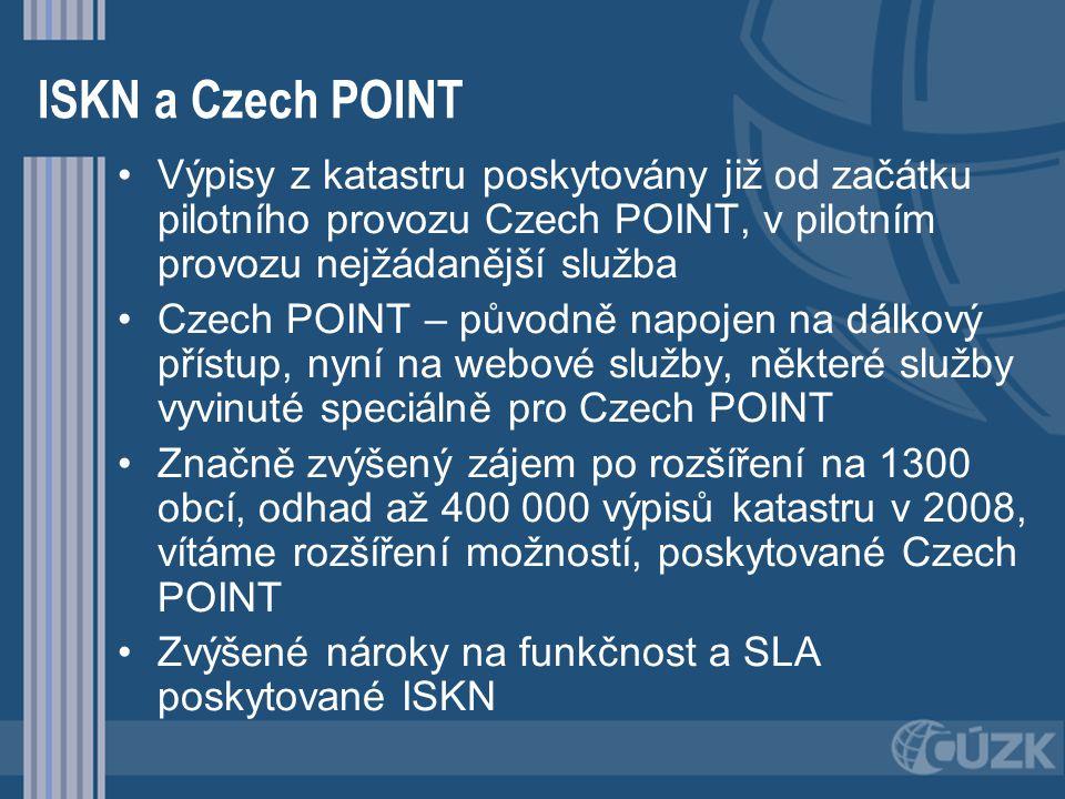 ISKN a Czech POINT Výpisy z katastru poskytovány již od začátku pilotního provozu Czech POINT, v pilotním provozu nejžádanější služba.