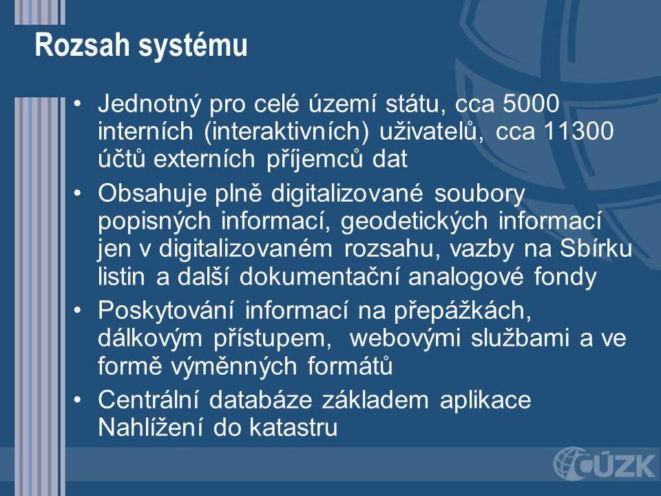Rozsah systému Jednotný pro celé území státu, cca 5000 interních (interaktivních) uživatelů, cca 11300 účtů externích příjemců dat.