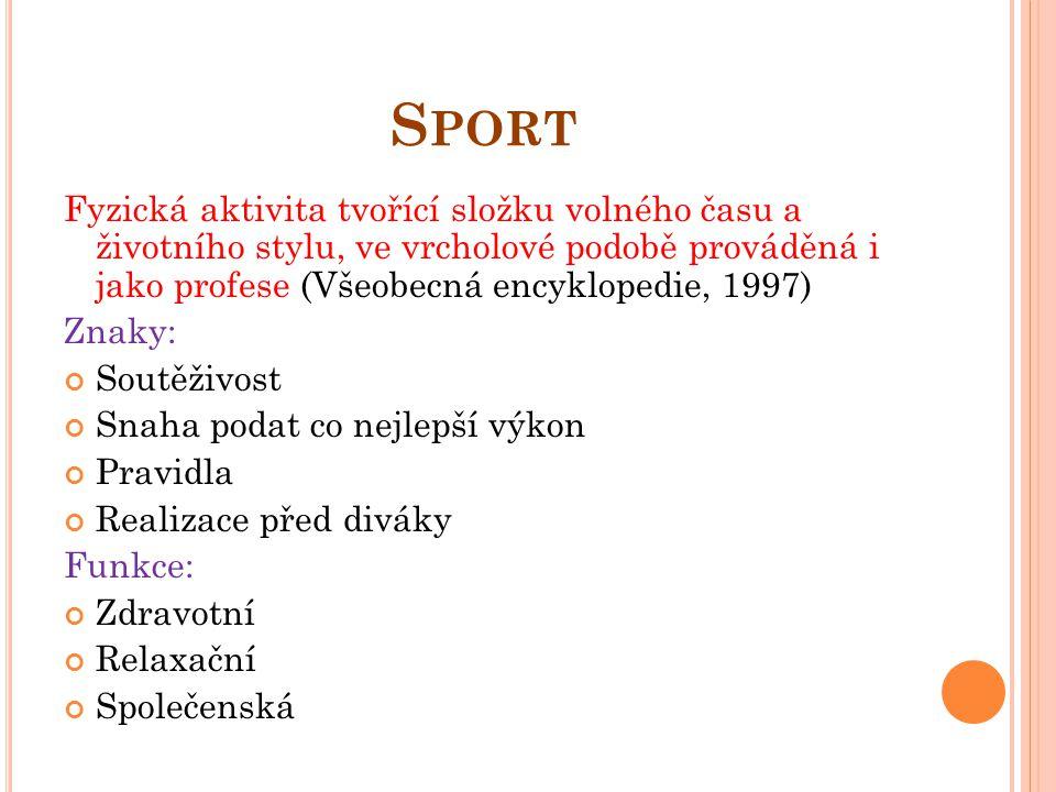 Sport Fyzická aktivita tvořící složku volného času a životního stylu, ve vrcholové podobě prováděná i jako profese (Všeobecná encyklopedie, 1997)