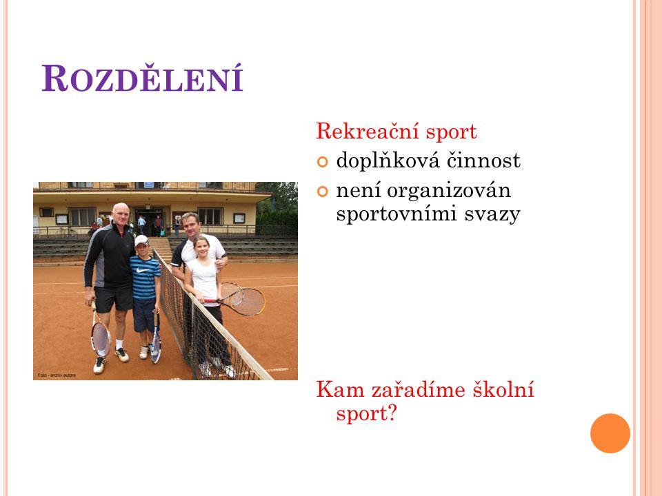 Rozdělení Rekreační sport doplňková činnost
