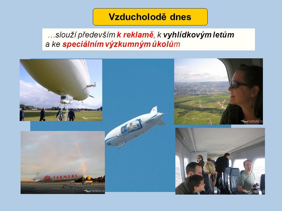 Vzducholodě dnes …slouží především k reklamě, k vyhlídkovým letům