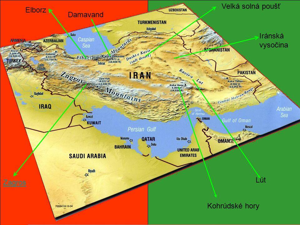 Velká solná poušť Elborz Damavand Iránská vysočina Lút Zagros Kohrúdské hory