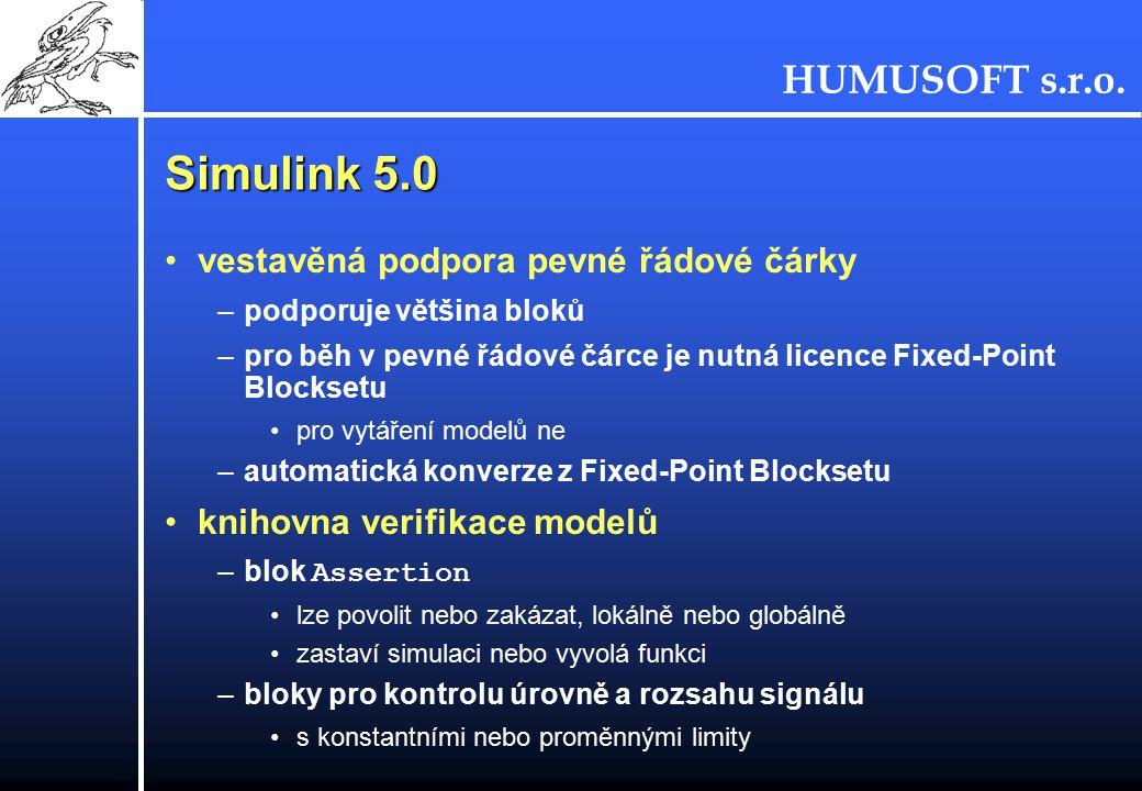 Simulink 5.0 vestavěná podpora pevné řádové čárky
