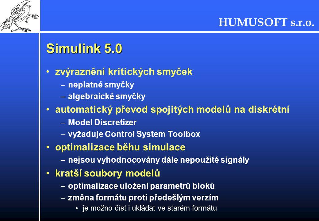Simulink 5.0 zvýraznění kritických smyček