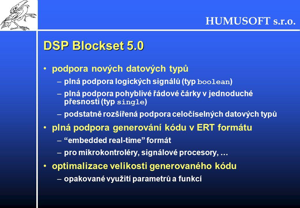 DSP Blockset 5.0 podpora nových datových typů