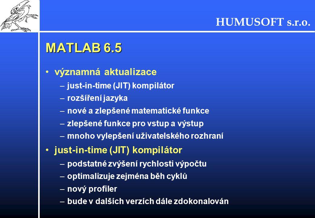 MATLAB 6.5 významná aktualizace just-in-time (JIT) kompilátor