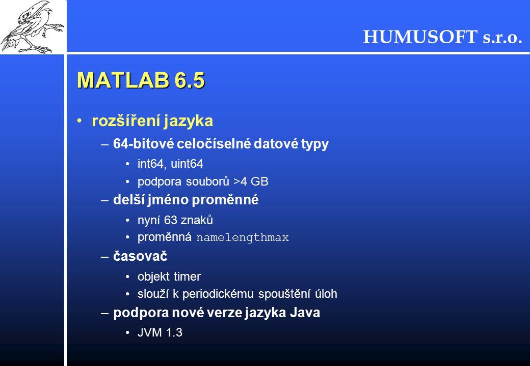 MATLAB 6.5 rozšíření jazyka 64-bitové celočíselné datové typy