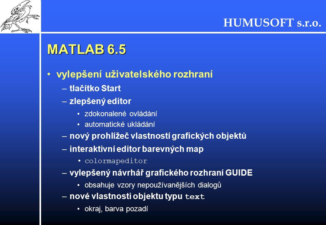 MATLAB 6.5 vylepšení uživatelského rozhraní tlačítko Start