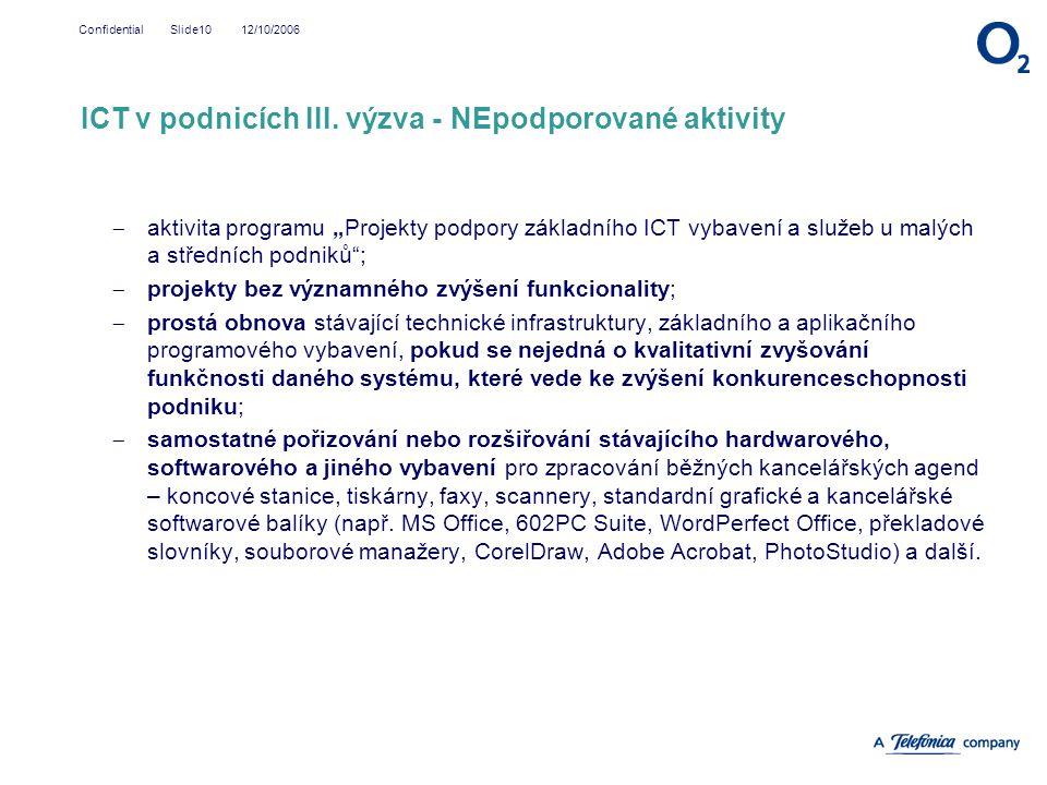 ICT v podnicích III. výzva - NEpodporované aktivity