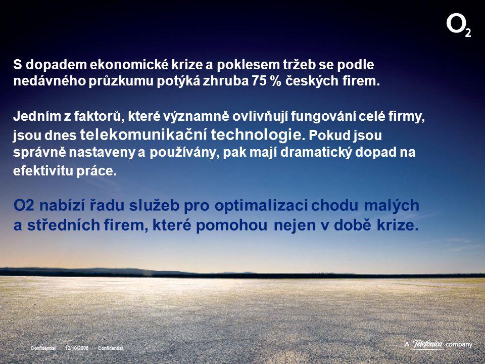 S dopadem ekonomické krize a poklesem tržeb se podle nedávného průzkumu potýká zhruba 75 % českých firem. Jedním z faktorů, které významně ovlivňují fungování celé firmy, jsou dnes telekomunikační technologie. Pokud jsou správně nastaveny a používány, pak mají dramatický dopad na efektivitu práce. O2 nabízí řadu služeb pro optimalizaci chodu malých a středních firem, které pomohou nejen v době krize.