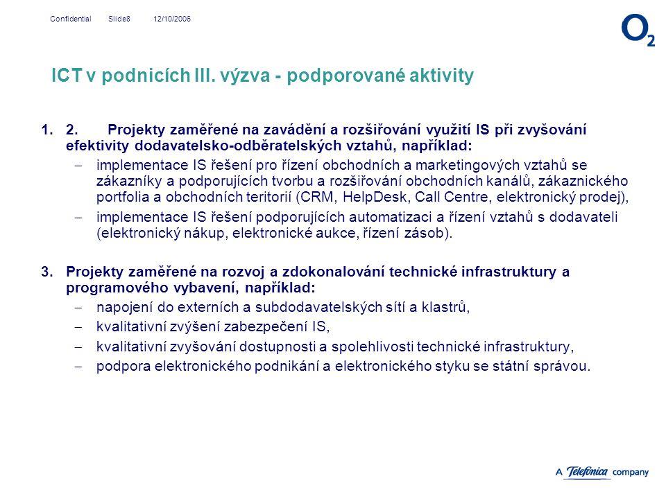 ICT v podnicích III. výzva - podporované aktivity