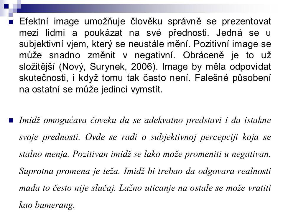 Efektní image umožňuje člověku správně se prezentovat mezi lidmi a poukázat na své přednosti. Jedná se u subjektivní vjem, který se neustále mění. Pozitivní image se může snadno změnit v negativní. Obráceně je to už složitější (Nový, Surynek, 2006). Image by měla odpovídat skutečnosti, i když tomu tak často není. Falešné působení na ostatní se může jedinci vymstít.