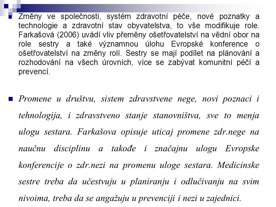 Změny ve společnosti, systém zdravotní péče, nové poznatky a technologie a zdravotní stav obyvatelstva, to vše modifikuje role. Farkašová (2006) uvádí vliv přeměny ošetřovatelství na vědní obor na role sestry a také významnou úlohu Evropské konference o ošetřovatelství na změny rolí. Sestry se mají podílet na plánování a rozhodování na všech úrovních, více se zabývat komunitní péčí a prevencí.