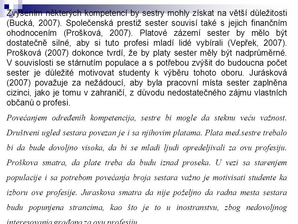 Zvýšením některých kompetencí by sestry mohly získat na větší důležitosti (Bucká, 2007).