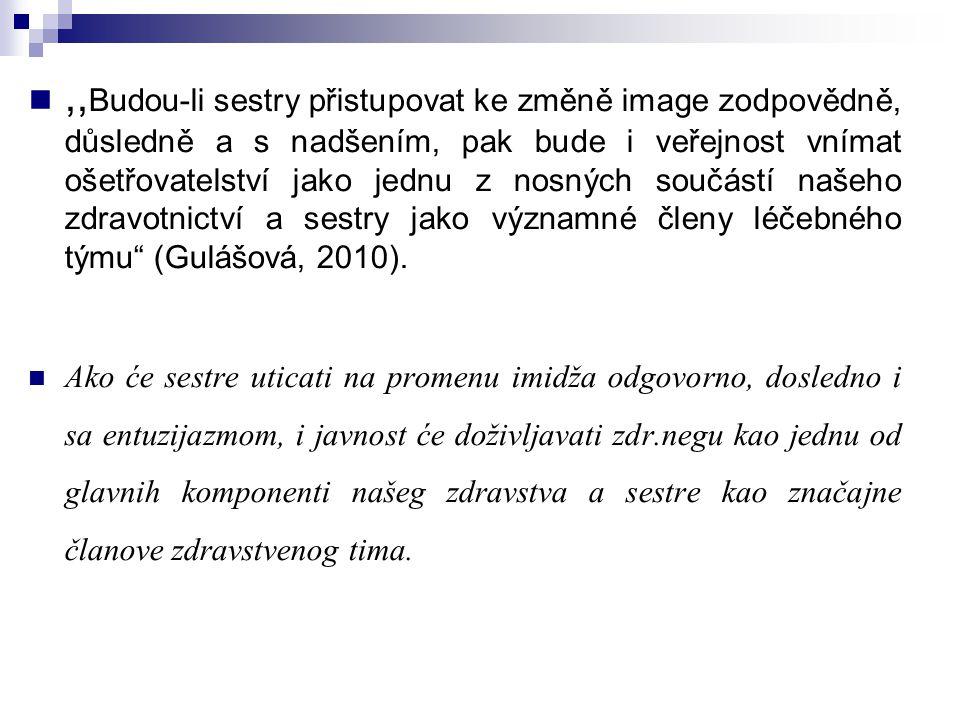 ,,Budou-li sestry přistupovat ke změně image zodpovědně, důsledně a s nadšením, pak bude i veřejnost vnímat ošetřovatelství jako jednu z nosných součástí našeho zdravotnictví a sestry jako významné členy léčebného týmu (Gulášová, 2010).