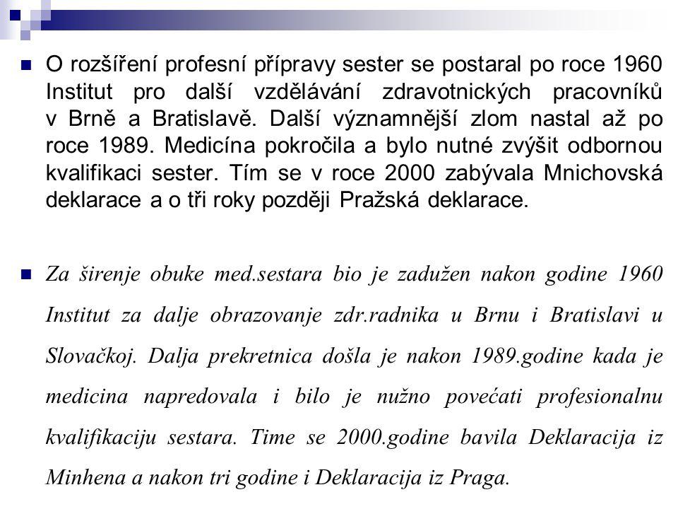 O rozšíření profesní přípravy sester se postaral po roce 1960 Institut pro další vzdělávání zdravotnických pracovníků v Brně a Bratislavě. Další významnější zlom nastal až po roce 1989. Medicína pokročila a bylo nutné zvýšit odbornou kvalifikaci sester. Tím se v roce 2000 zabývala Mnichovská deklarace a o tři roky později Pražská deklarace.