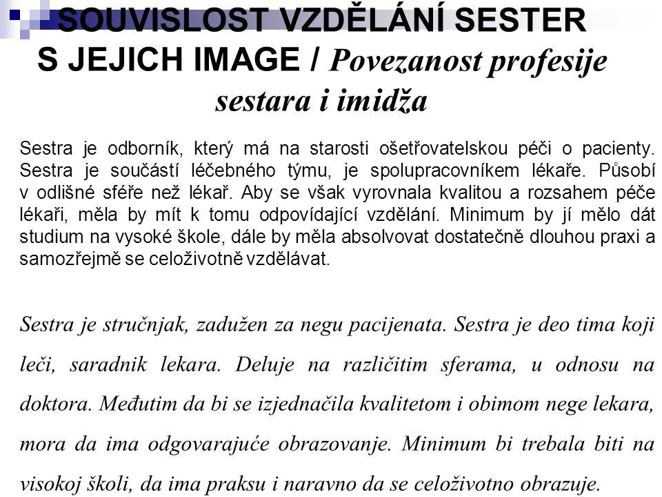 SOUVISLOST VZDĚLÁNÍ SESTER S JEJICH IMAGE / Povezanost profesije sestara i imidža