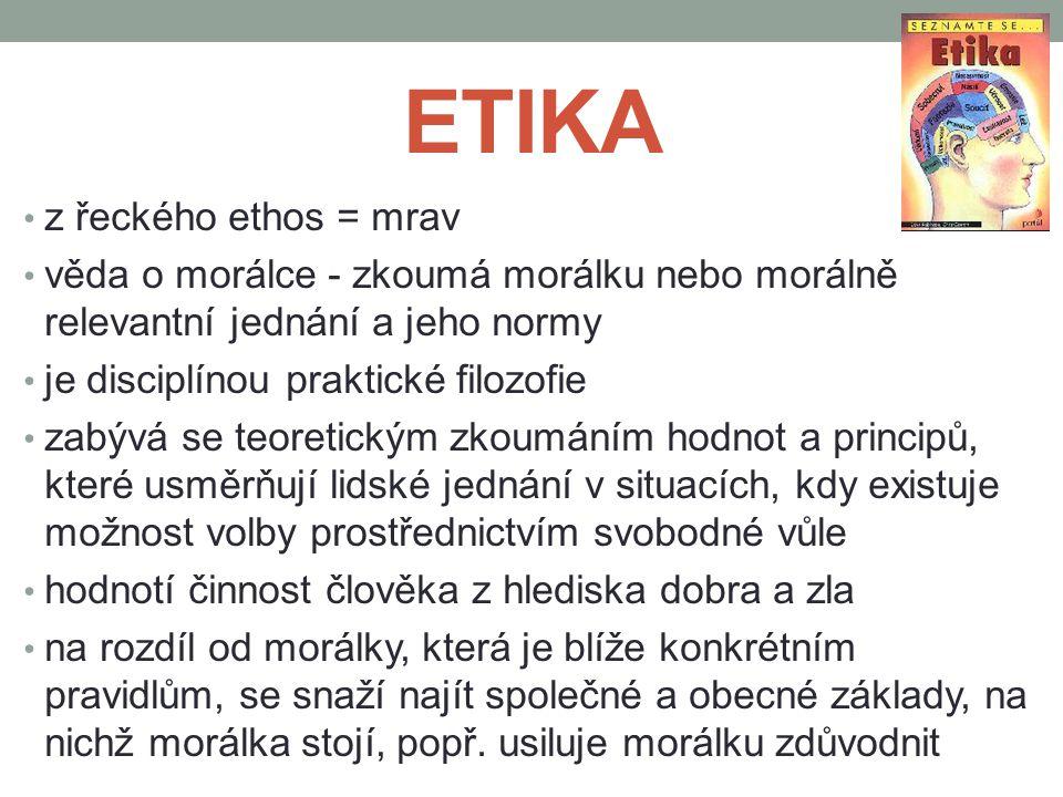 ETIKA z řeckého ethos = mrav