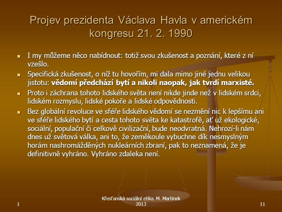 Projev prezidenta Václava Havla v americkém kongresu 21. 2. 1990