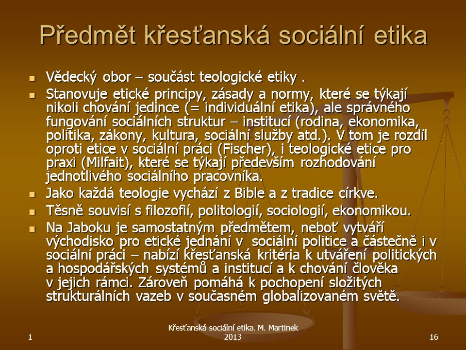 Předmět křesťanská sociální etika