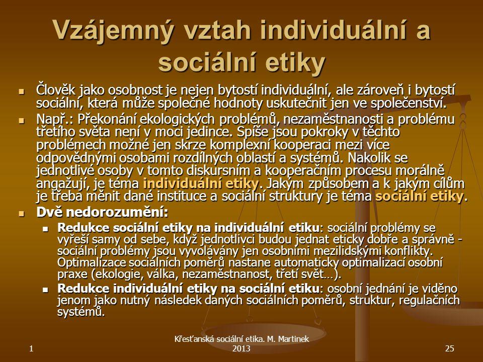 Vzájemný vztah individuální a sociální etiky