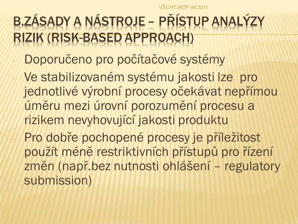 B.Zásady a nástroje – přístup analýzy rizik (Risk-Based Approach)