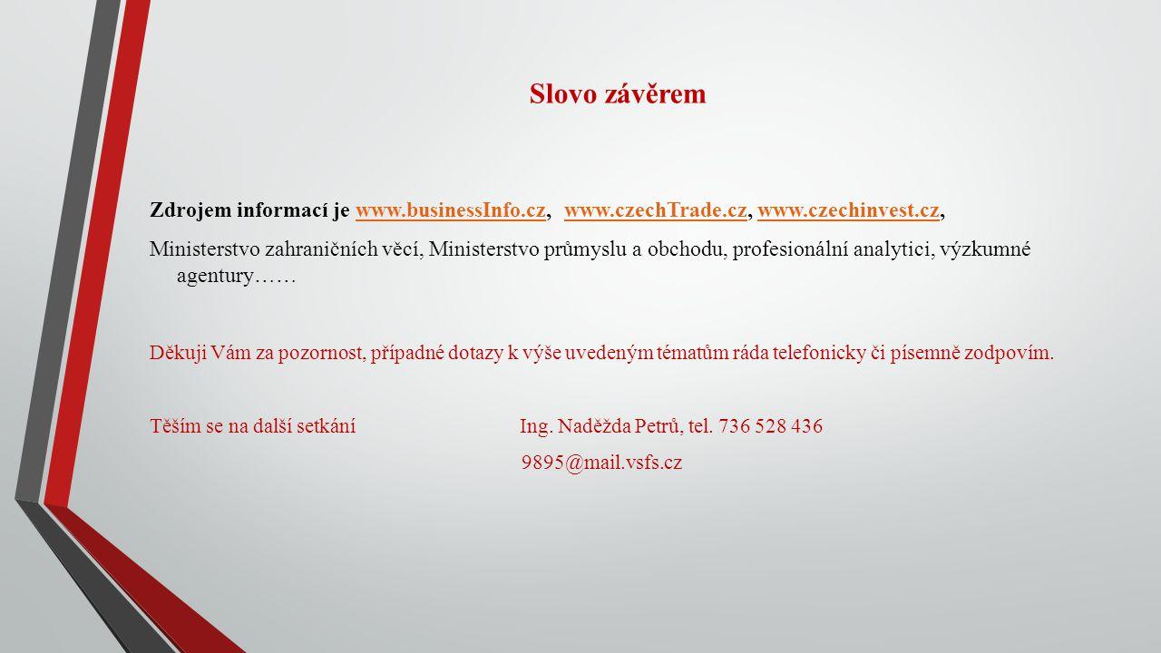 Slovo závěrem Zdrojem informací je www.businessInfo.cz, www.czechTrade.cz, www.czechinvest.cz,