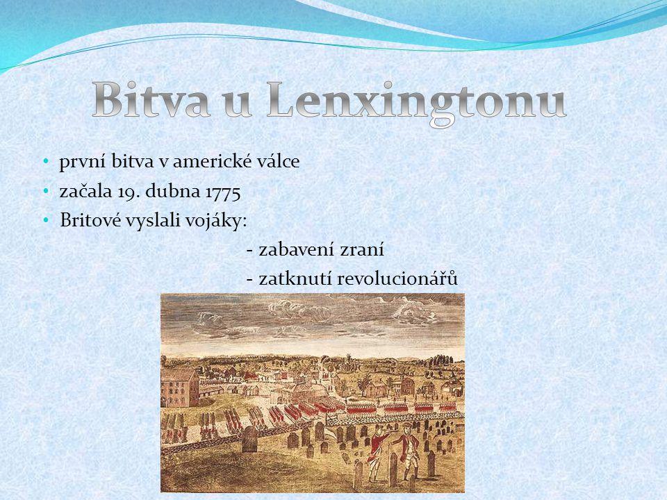 Bitva u Lenxingtonu první bitva v americké válce začala 19. dubna 1775
