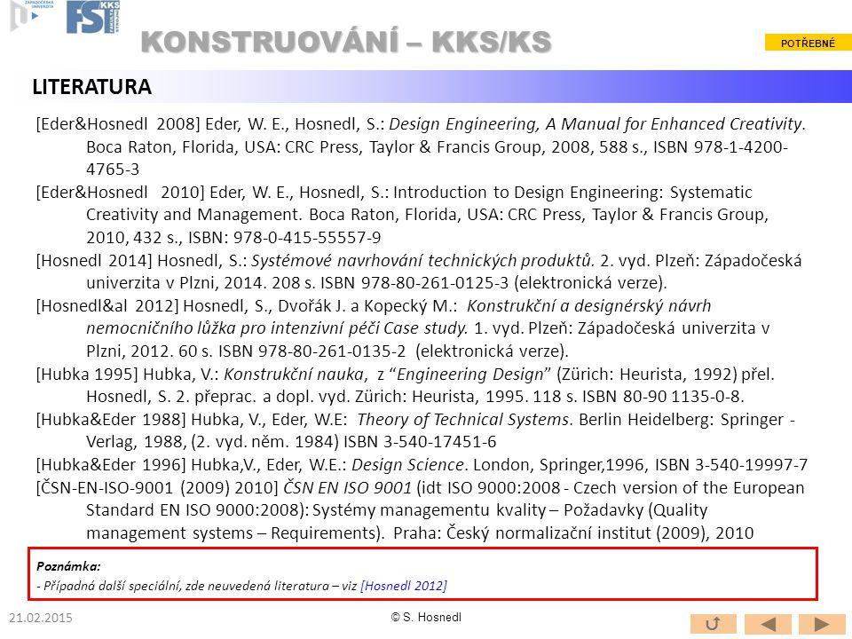 KONSTRUOVÁNÍ – KKS/KS LITERATURA