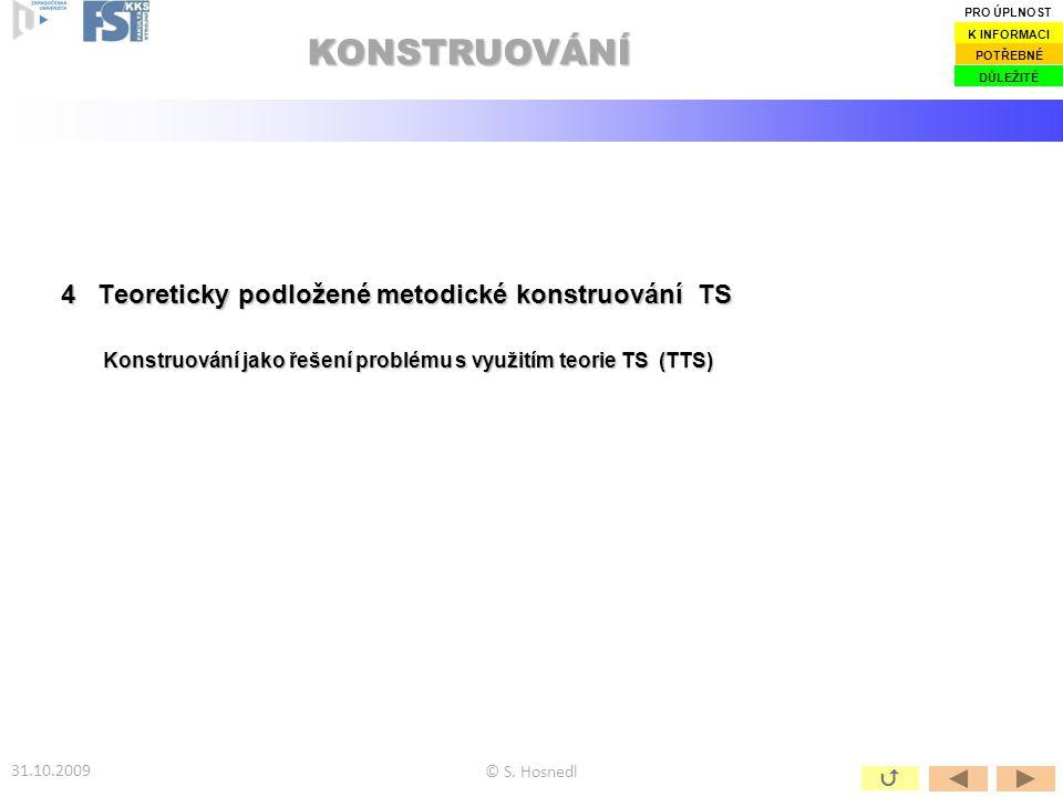 KONSTRUOVÁNÍ 4 Teoreticky podložené metodické konstruování TS 
