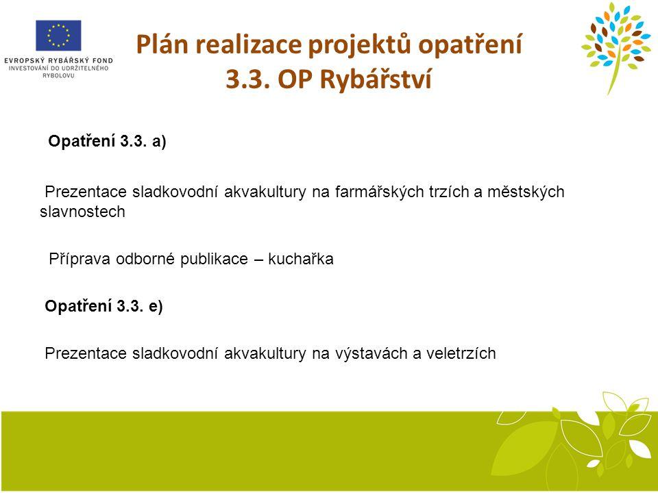 Plán realizace projektů opatření 3.3. OP Rybářství
