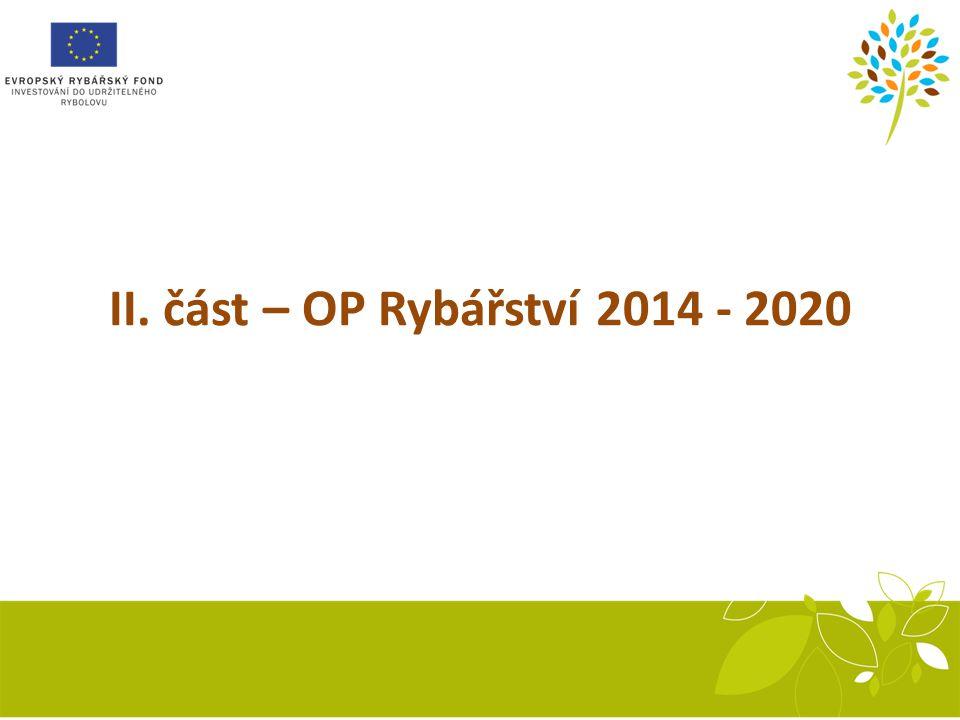 II. část – OP Rybářství 2014 - 2020 Recirkulační systém