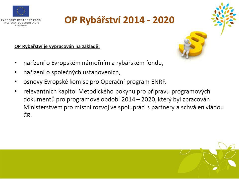 OP Rybářství 2014 - 2020 OP Rybářství je vypracován na základě: nařízení o Evropském námořním a rybářském fondu,
