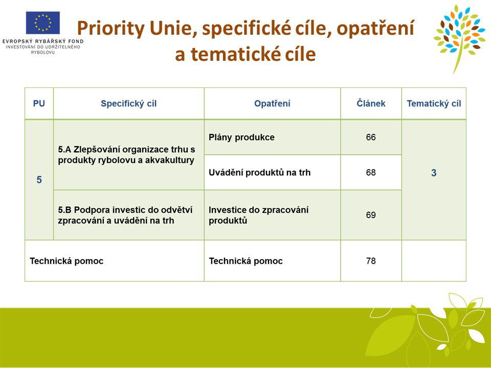 Priority Unie, specifické cíle, opatření a tematické cíle