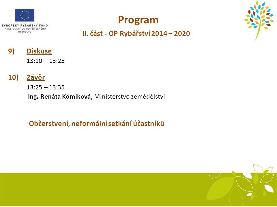 Program II. část - OP Rybářství 2014 – 2020 9) Diskuse 10) Závěr