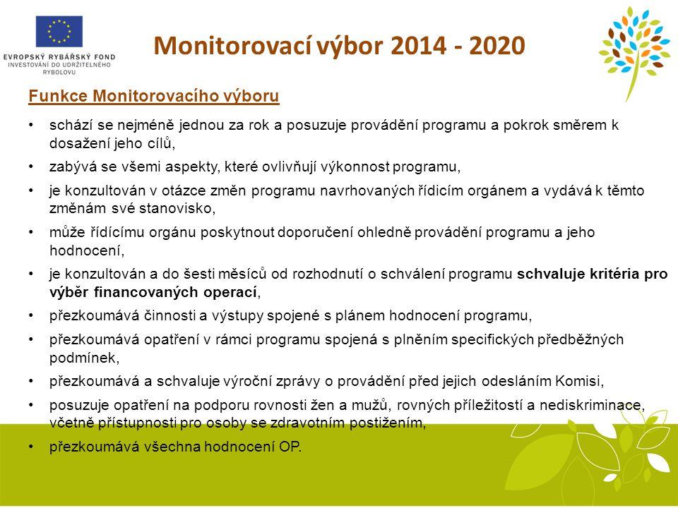 Monitorovací výbor 2014 - 2020 Funkce Monitorovacího výboru