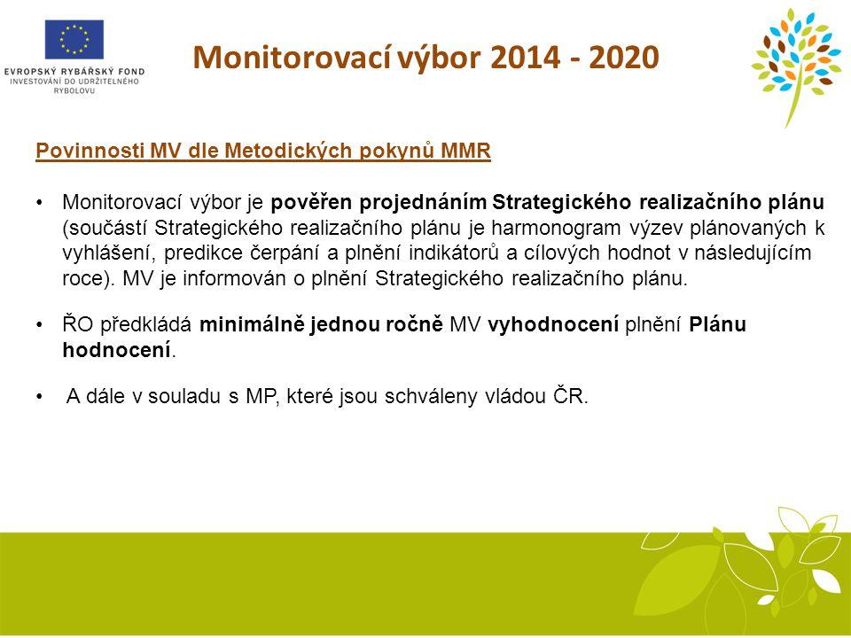 Monitorovací výbor 2014 - 2020 Povinnosti MV dle Metodických pokynů MMR.