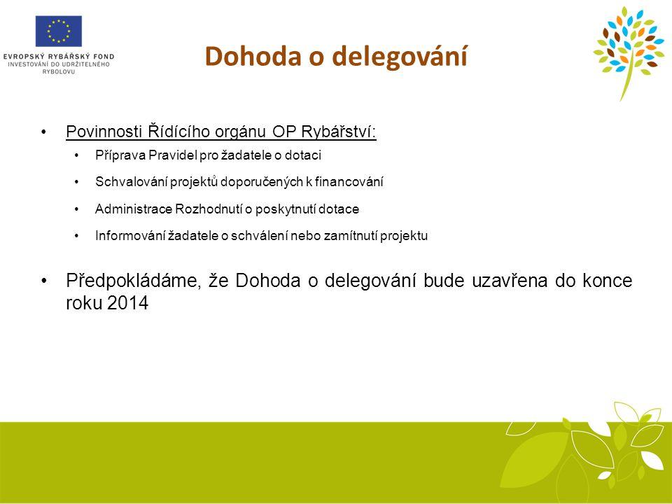 Dohoda o delegování Povinnosti Řídícího orgánu OP Rybářství: Příprava Pravidel pro žadatele o dotaci.