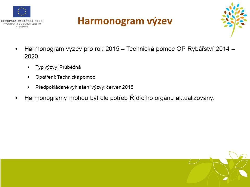 Harmonogram výzev Harmonogram výzev pro rok 2015 – Technická pomoc OP Rybářství 2014 – 2020. Typ výzvy: Průběžná.