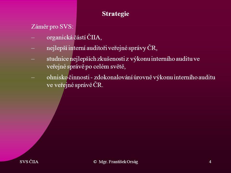 Strategie Záměr pro SVS: organická částí ČIIA,