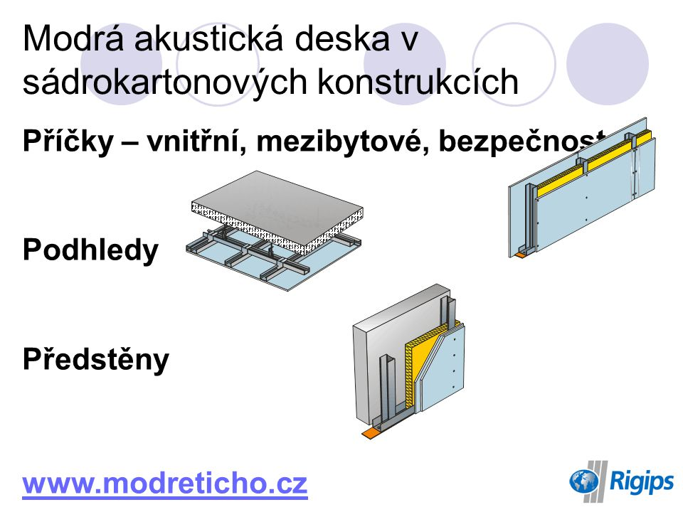Modrá akustická deska v sádrokartonových konstrukcích