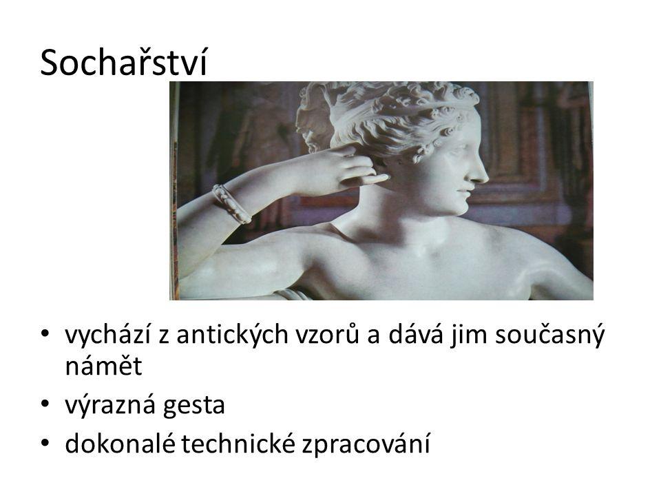 Sochařství vychází z antických vzorů a dává jim současný námět