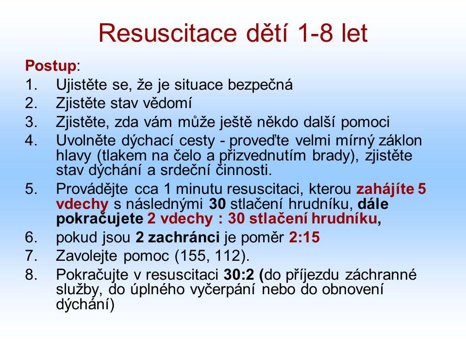 Resuscitace dětí 1-8 let Postup: Ujistěte se, že je situace bezpečná