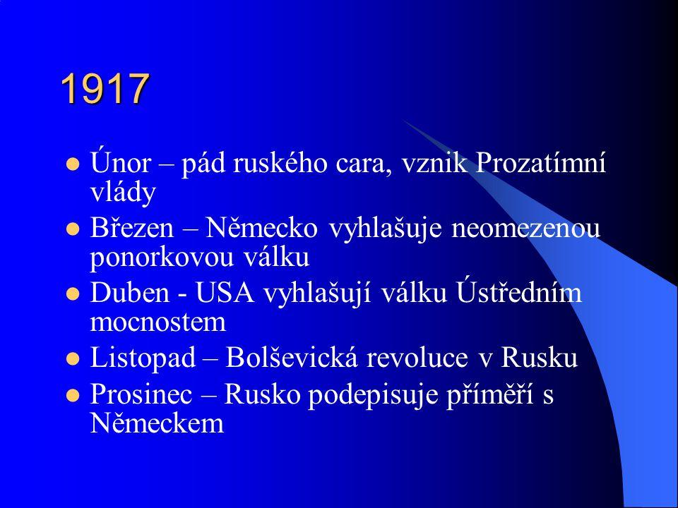 1917 Únor – pád ruského cara, vznik Prozatímní vlády