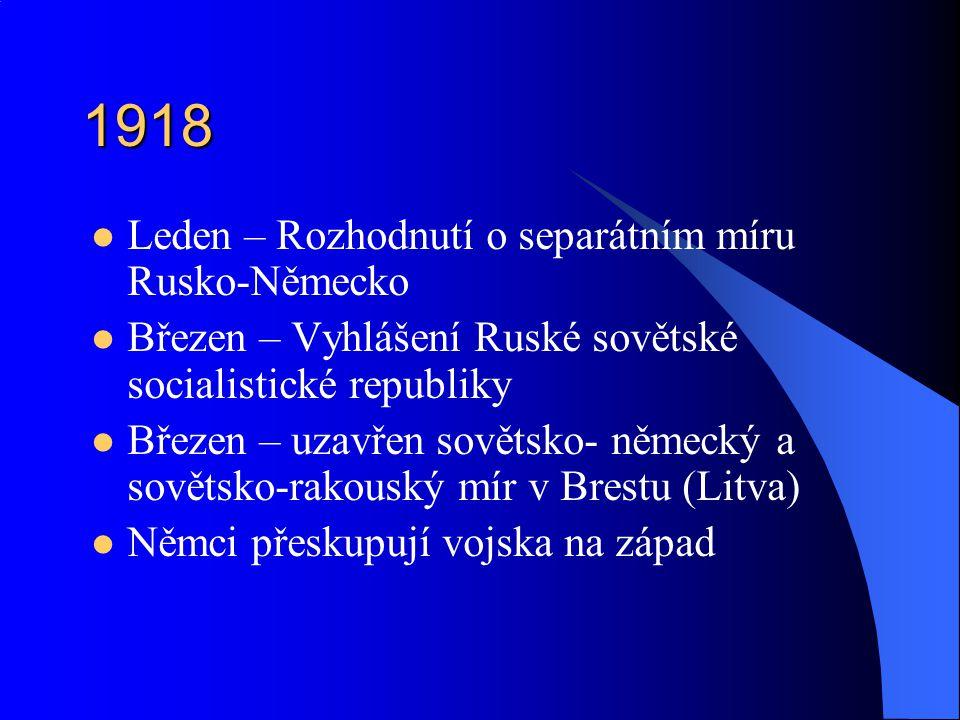 1918 Leden – Rozhodnutí o separátním míru Rusko-Německo