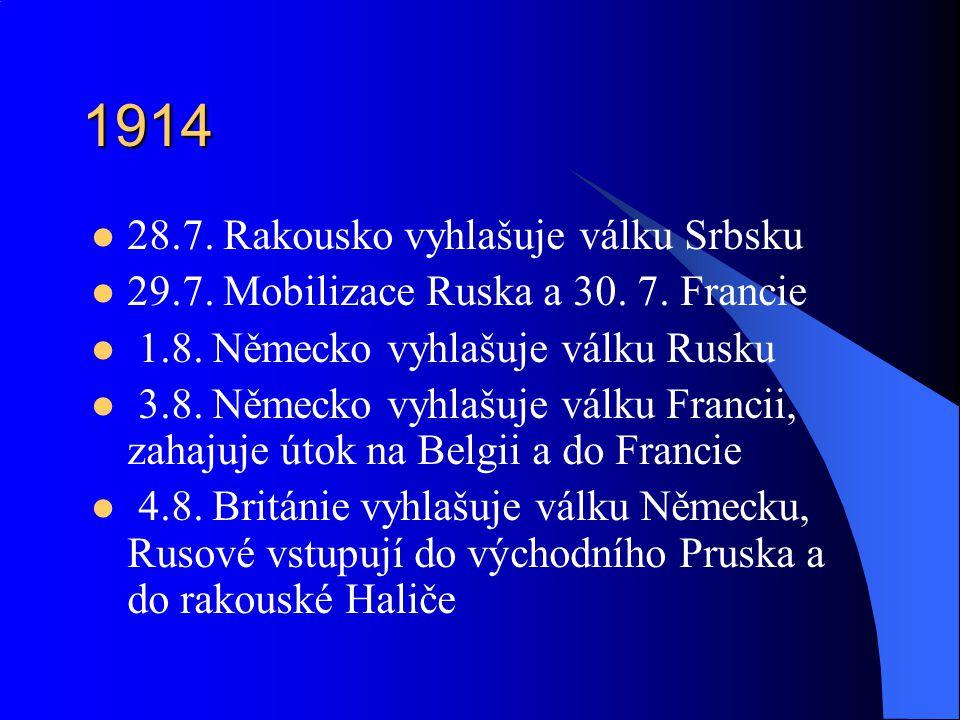 1914 28.7. Rakousko vyhlašuje válku Srbsku