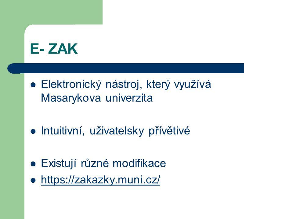 E- ZAK Elektronický nástroj, který využívá Masarykova univerzita