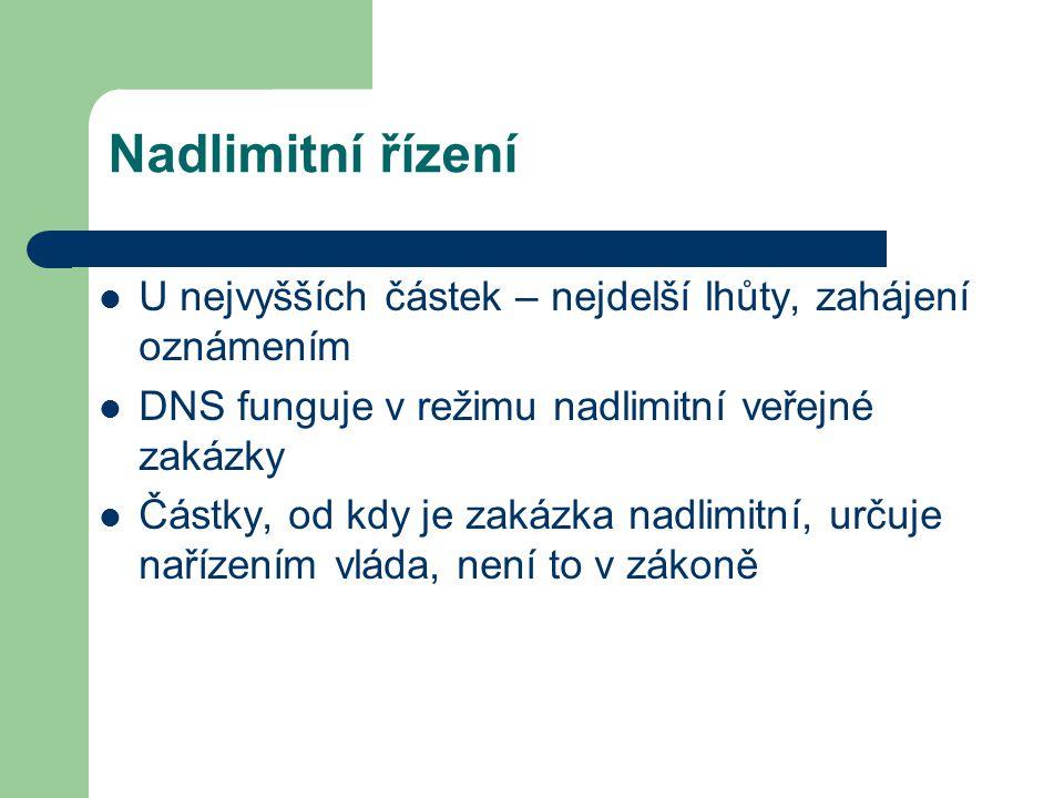 Nadlimitní řízení U nejvyšších částek – nejdelší lhůty, zahájení oznámením. DNS funguje v režimu nadlimitní veřejné zakázky.
